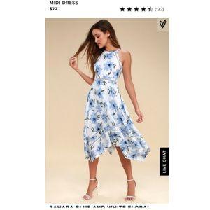 Zahara Blue and White Floral Dress